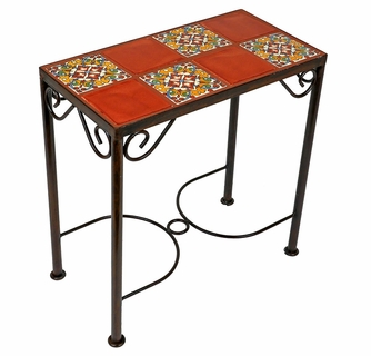 Iron Side Table With Talavera Tile Top