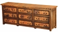 9 Drawer Low Boy Dresser with Copper