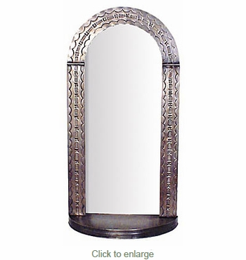 Aged Tin Arched Mirror with Shelf