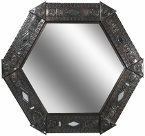 Aged Tin Chinese Hexagonal Mirror