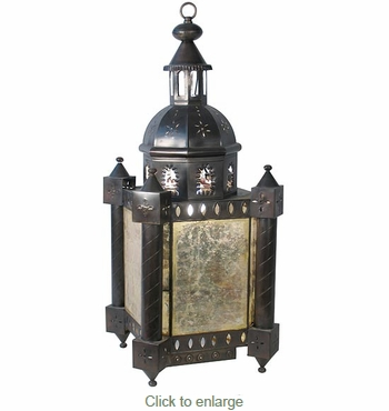 Aged Tin Colonial Light Fixture with Antiqued Mirrored Panels