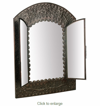 Aged Tin Door Mirror