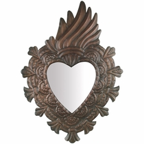 Aged Tin Fiery Heart Mirror