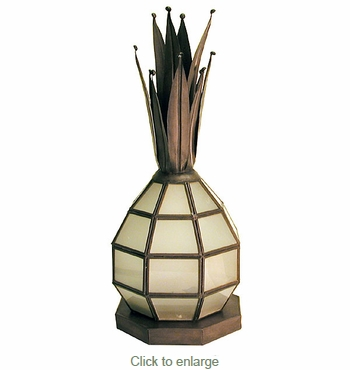 Aged Tin Frosted Glass Pineapple Candle Lantern