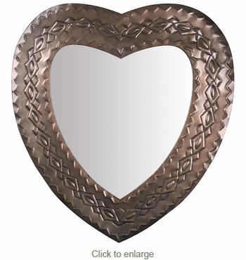 Aged Tin Heart Mirror