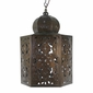 Aged Tin Hex Moroccan Light Fixture