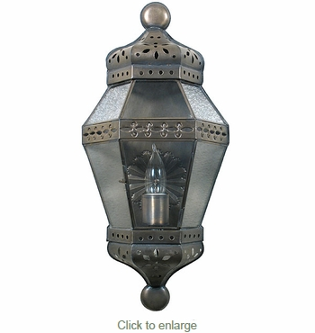 Aged Tin Medallion Wall Lantern Sconce
