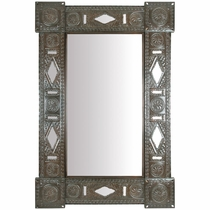 Aged Tin Rectangular Chinese Mirror