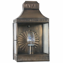 Aged Tin and Glass Rectangular Wall Lantern