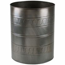 Aged Tin Round Waste Basket