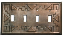 Aged Tin Southwest Quadruple Switchplate