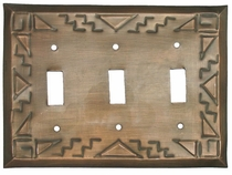 Aged Tin Southwest Triple Switchplate