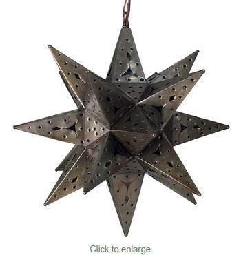 Aged Tin Stained Glass Star Fixture
