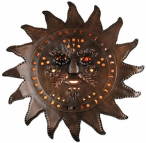 Aged Tin Sunface Wall Sconce