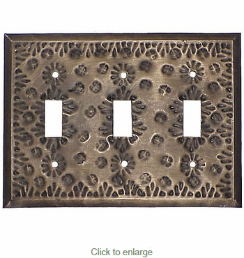 Aged Tin Triple Switchplate - Flower