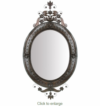 Aged Tin X-Large Oval Mirror