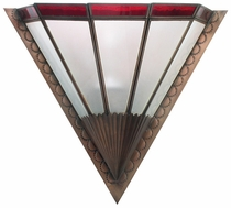 Art Deco Wall Sconce with Red Glass Band