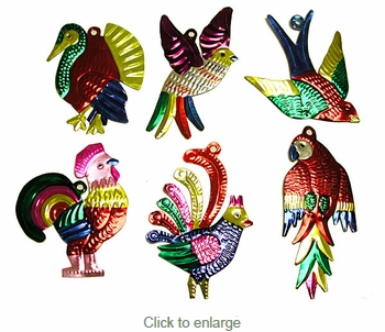 Assorted Exotic Birds - Painted Tin Ornaments - Dozen