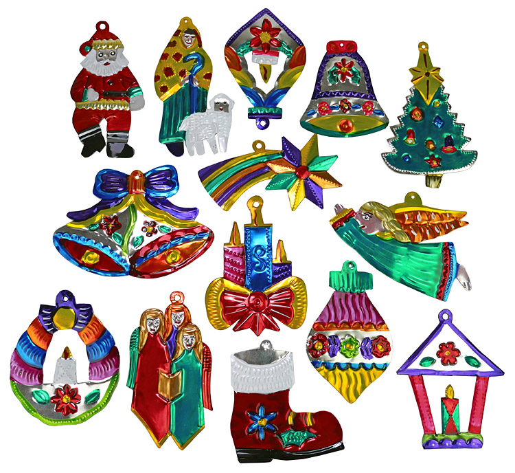 Mexican Christmas.Assorted Mexican Painted Christmas Ornaments Per Dozen