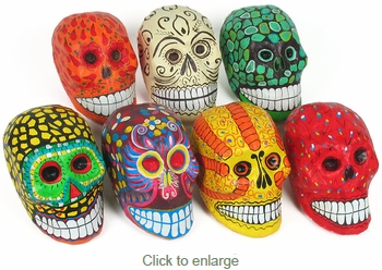 Assorted Painted Paper Mache Day of the Dead Skulls - Per Skull