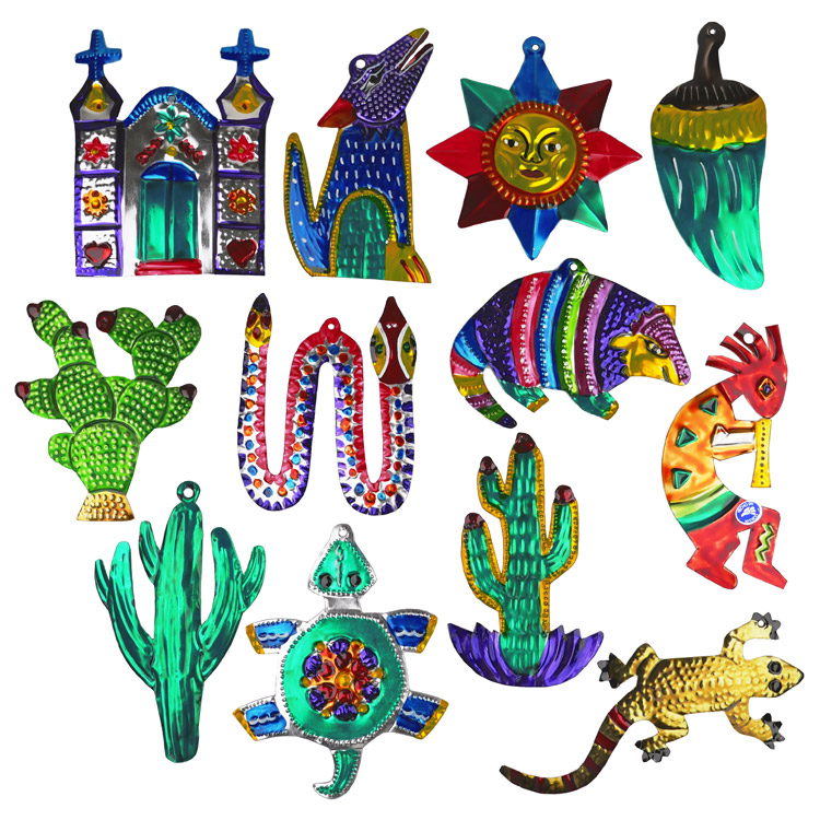 assorted painted tin southwest christmas ornaments per doz - Southwest Christmas Decorations