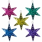 Assorted Painted Tin Star Ornaments - Set of 5