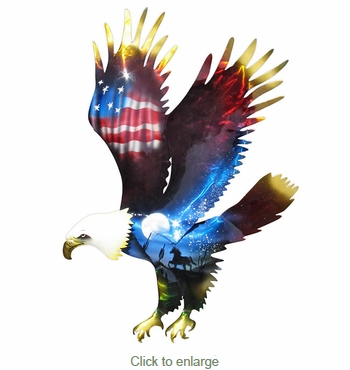 Bald Eagle 3D Metal Wall Art - Patriotic with Southwest Scene
