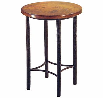 Bark textured round bar table with copper top watchthetrailerfo