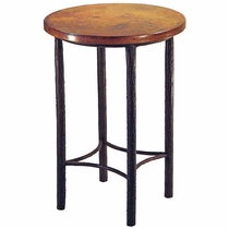 Bark Textured Round Bar Table with Copper Top