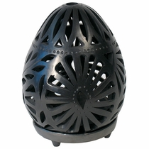 Black Clay Egg Luminaria with Base