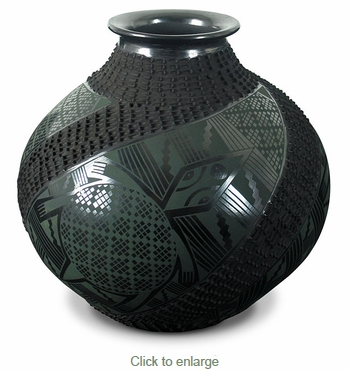 Black Mata Ortiz Mimbres Turtle Pot