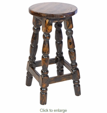Black Painted Wood Mexican Turned Leg Bar Stool