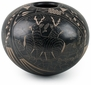Blackened Mata Ortiz Pot with Deer and Wildlife Scene