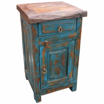 Blue Rustic Painted Wood Nightstand with Mesquite Top