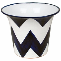 Blue & White Chevron Talavera Flower Pot
