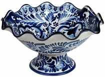 Blue & White Scallop Fruit Bowl with Base