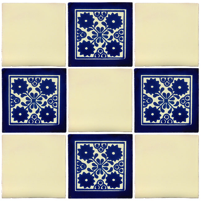 Blue White Talavera Tile PP Tiles - Black and white talavera tile