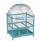 Blue Wooden Bird Cage - Round Top