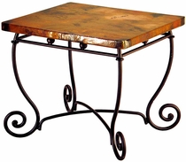 Bola Iron Base End Table with Copper Top