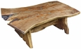 Bookmatched Slab Mesquite Coffee Table with Turquoise Inlay