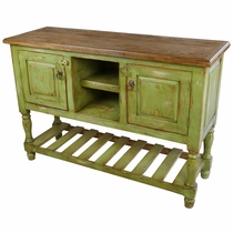 Bujanda Painted Wood TV Console with 2 Doors - Green