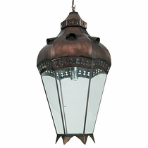 Canela Aged Tin and Glass Hanging Light Fixture - Extra Large