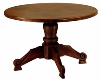 Carmen Wood Carved Pedestal Table Copper Top