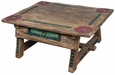 Carved Antique Painted Wood Ranch Coffee Table