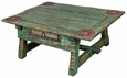 Carved Antique Ranch Coffee Table Green