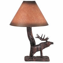 Carved Ironwood Majestic Elk Table Lamp
