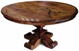 Carved Mesquite Dining Table with Scroll Base - Round 60""
