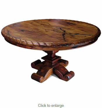 Carved Mesquite Dining Table with Scroll Base - Round 60