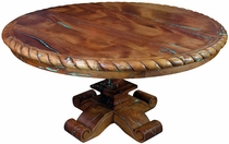 Carved Mesquite Table with Turquoise Inlay - Round 60""