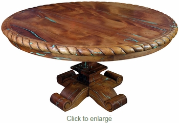 Carved Mesquite Table with Turquoise Inlay - Round 60